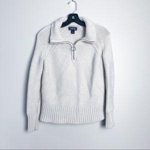 Lands' End Fisherman Quarter Zip Chunky Sweater